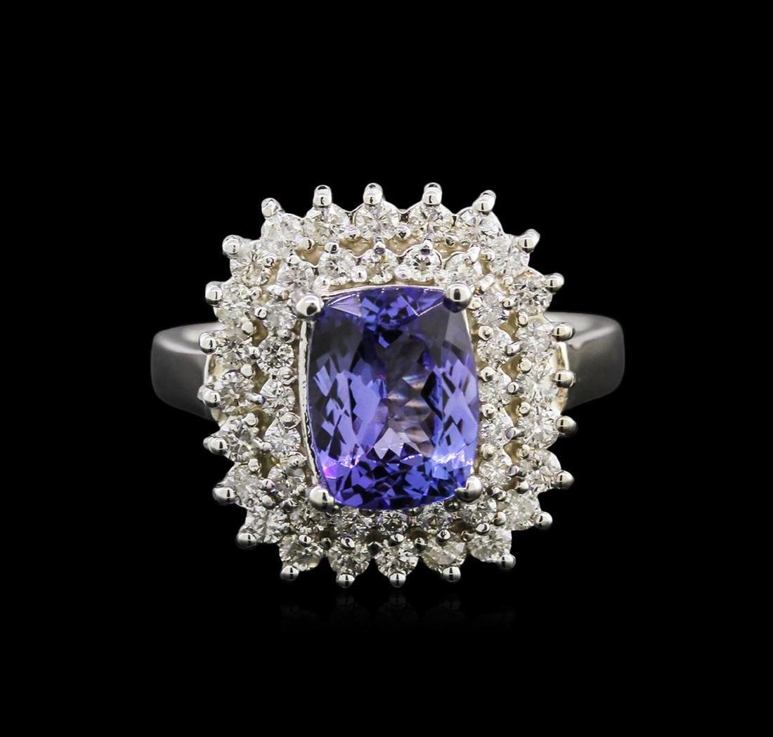 2.05 ctw Tanzanite and Diamond Ring - 14KT White Gold - 2