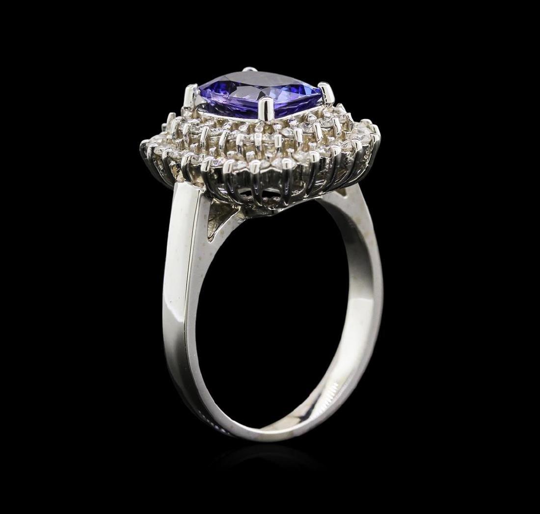 2.05 ctw Tanzanite and Diamond Ring - 14KT White Gold - 3