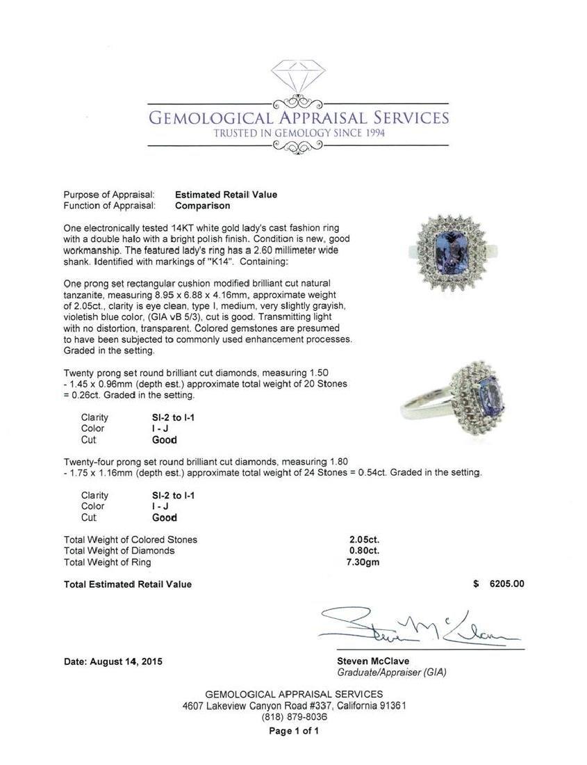 2.05 ctw Tanzanite and Diamond Ring - 14KT White Gold - 4