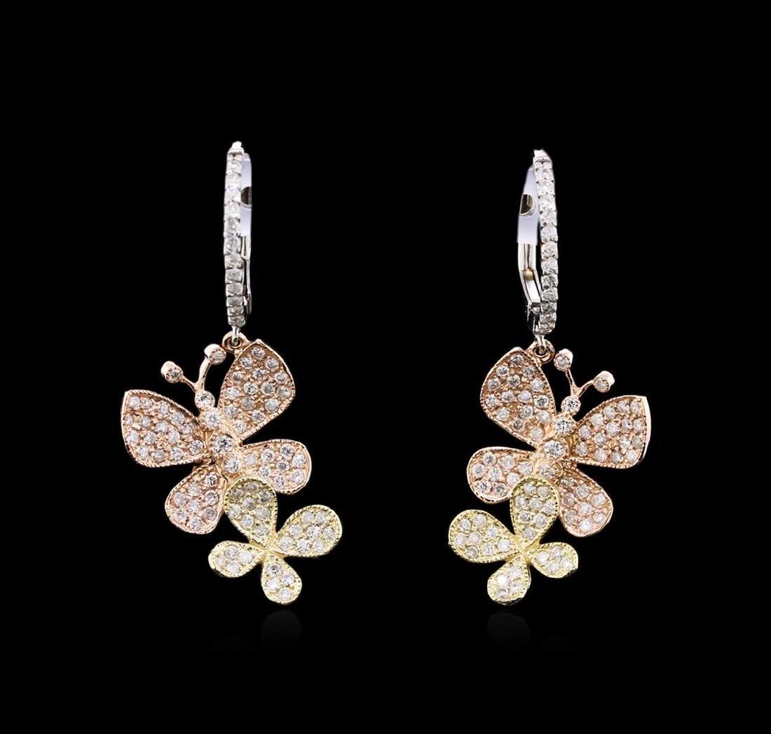 1.25 ctw Diamond Earrings - 14KT Tri-Color Gold