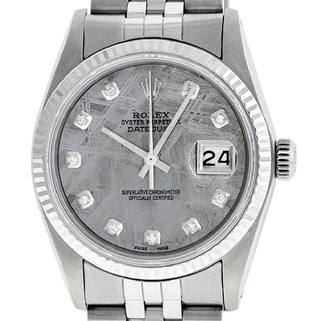 Rolex Mens 36mm Stainless Steel Meteorite Diamond