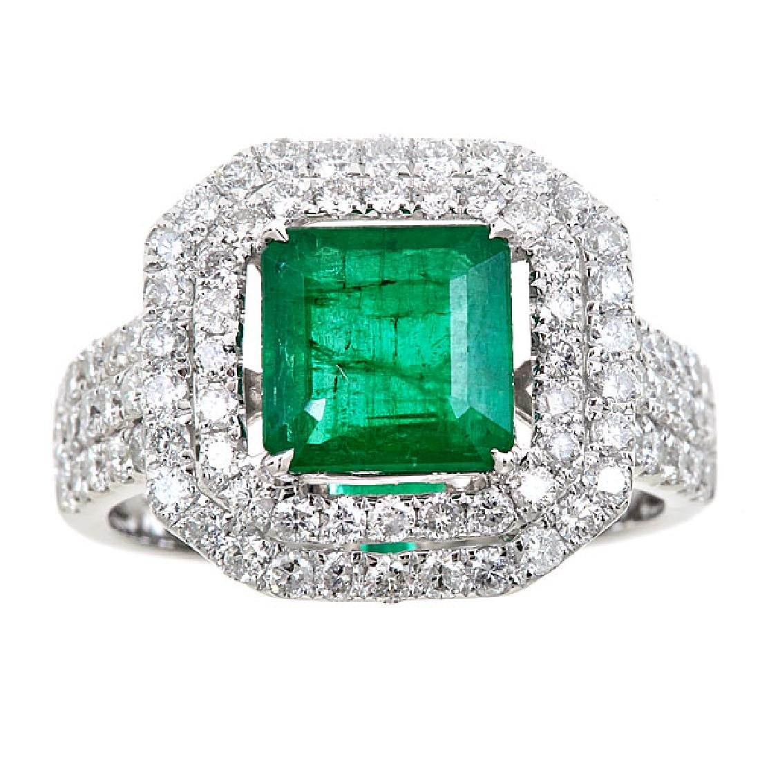 3.76 ctw Emerald and Diamond Ring - 18KT White Gold