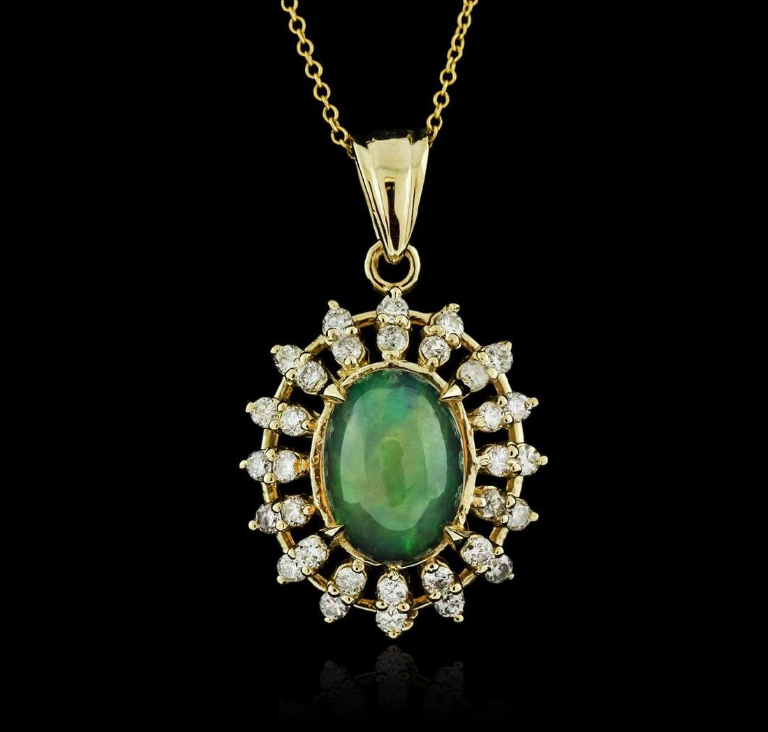 14KT Yellow Gold 3.89 ctw Opal and Diamond Pendant With