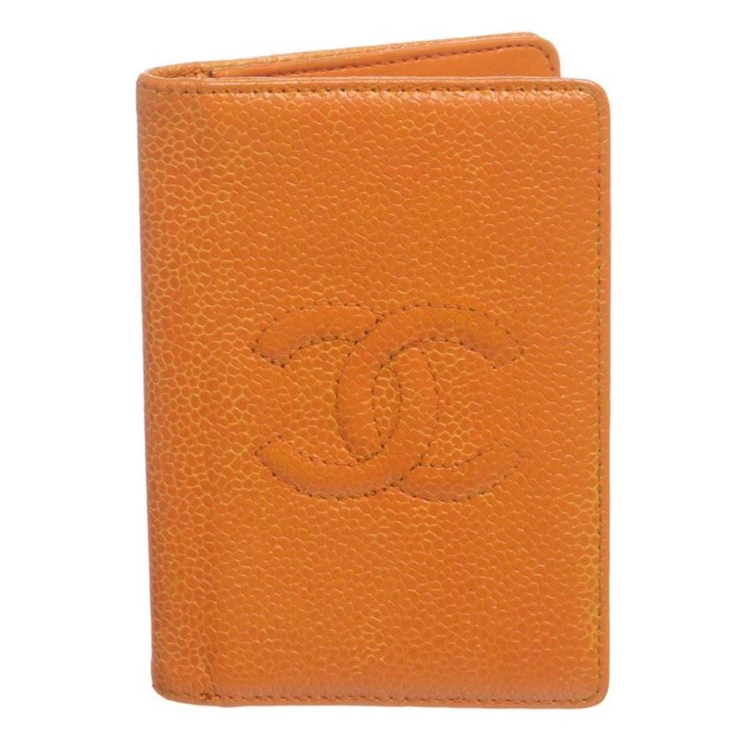 Chanel Orange Caviar Leather CC Logo Small Bifold