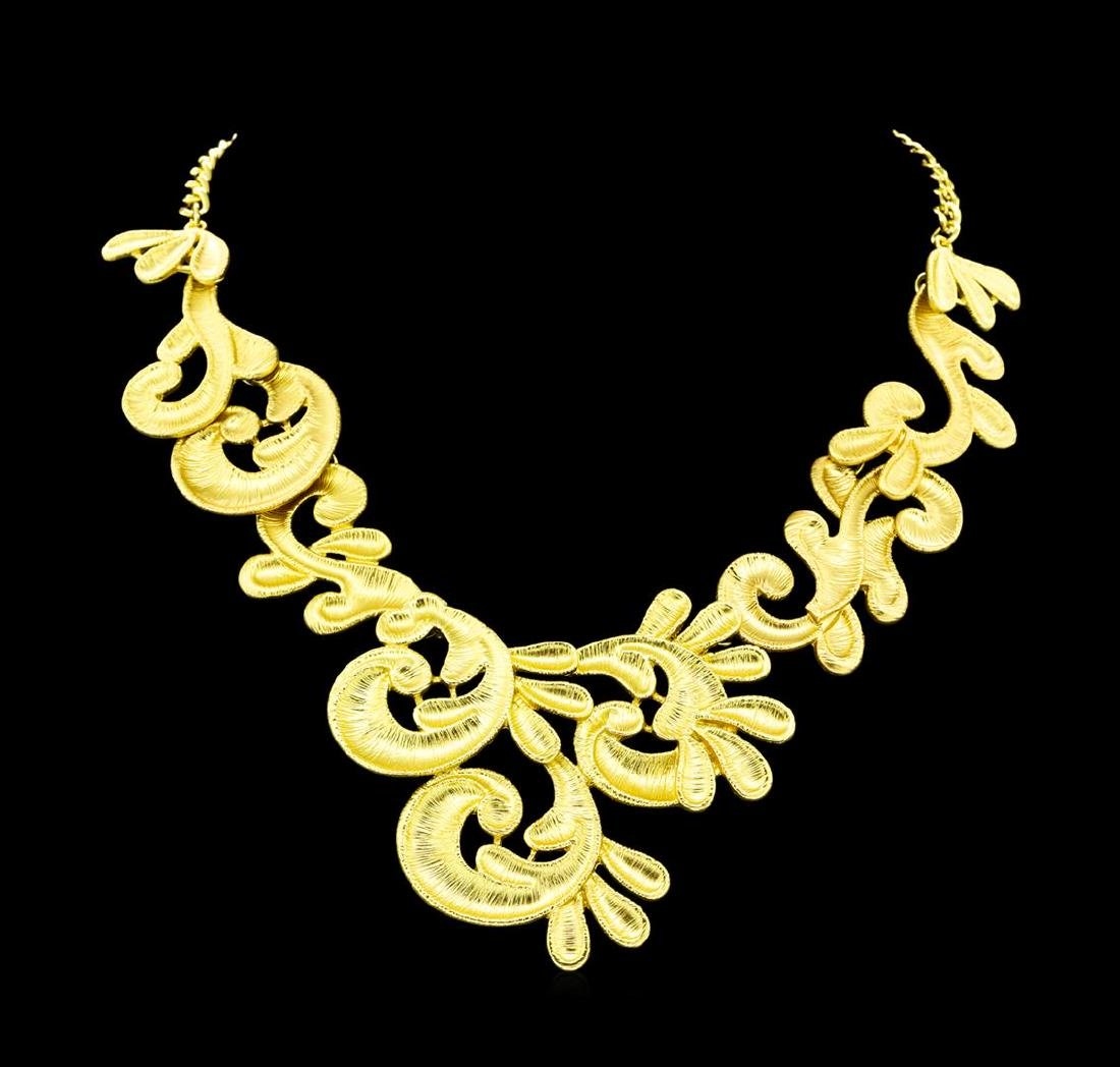 Hand Painted Necklace - Gold Plated - 2