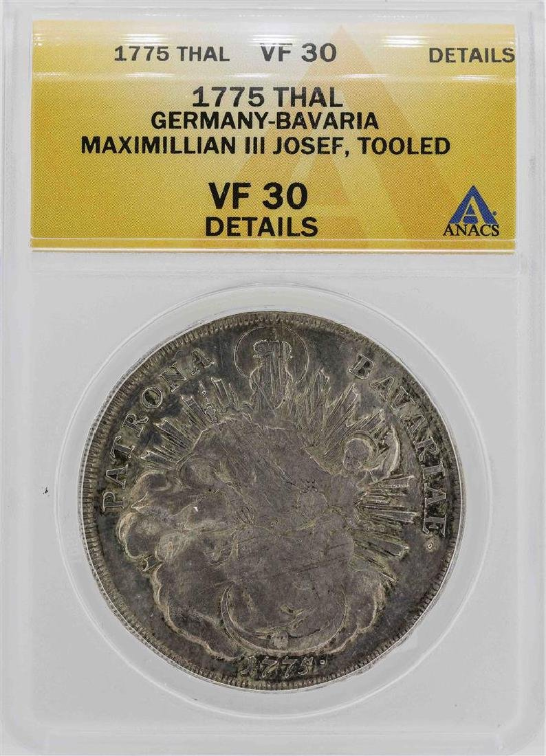 1775 Germany-Bavaria Maximillian III Coin ANACS VF30