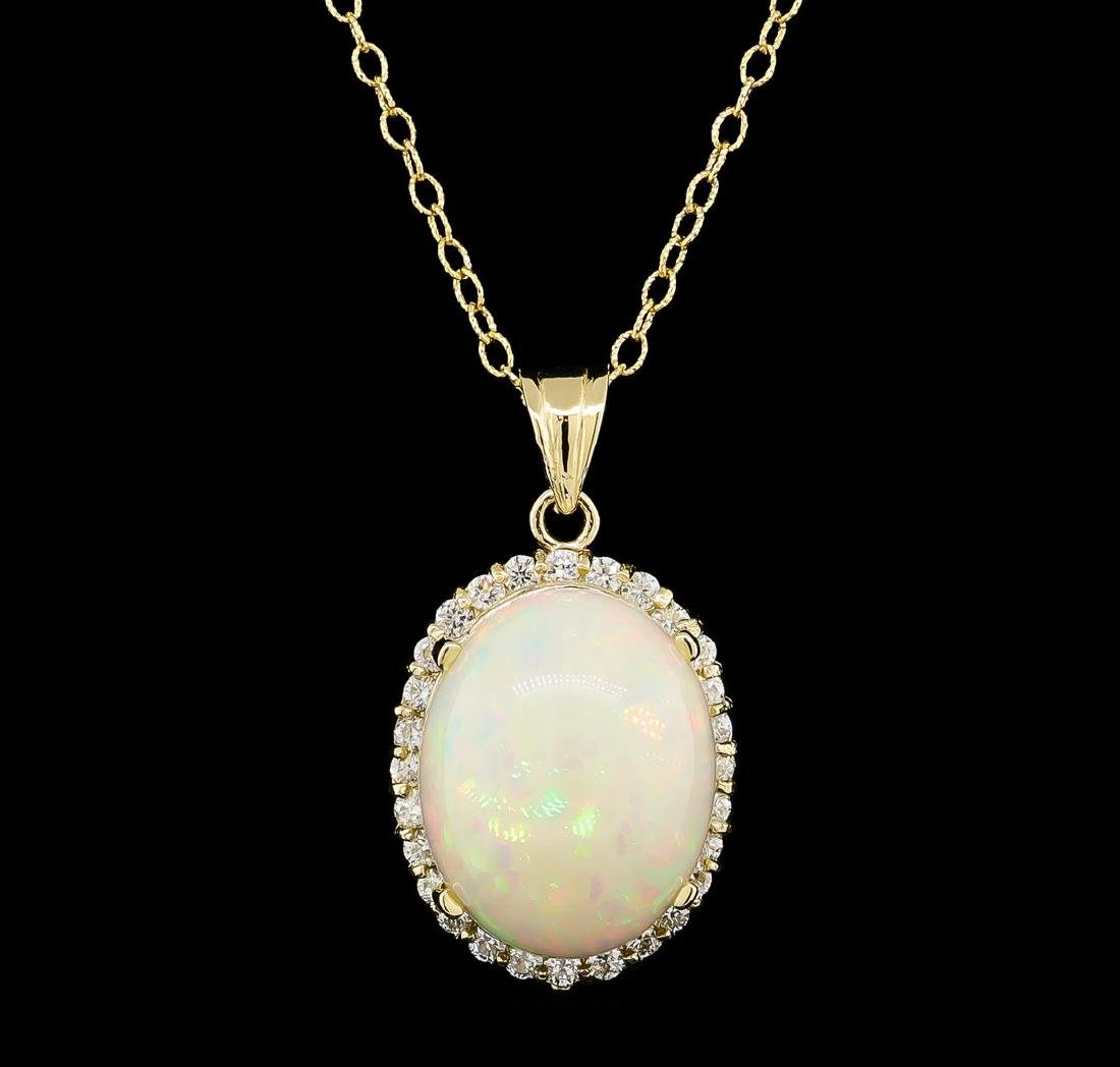 13.41 ctw Opal and Diamond Pendant With Chain - 14KT