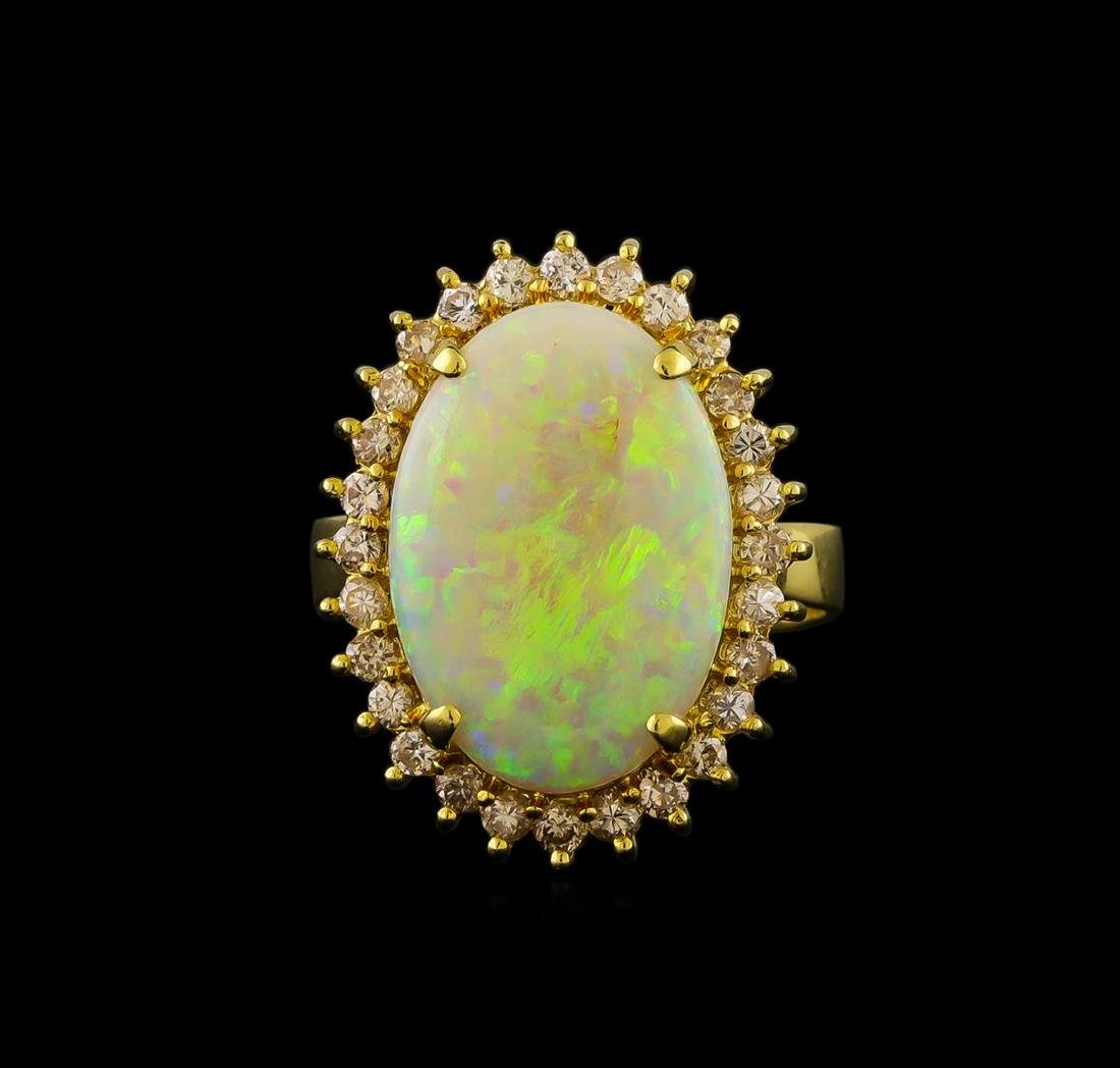 3.87 ctw Opal and Diamond Ring - 18KT Yellow Gold - 2