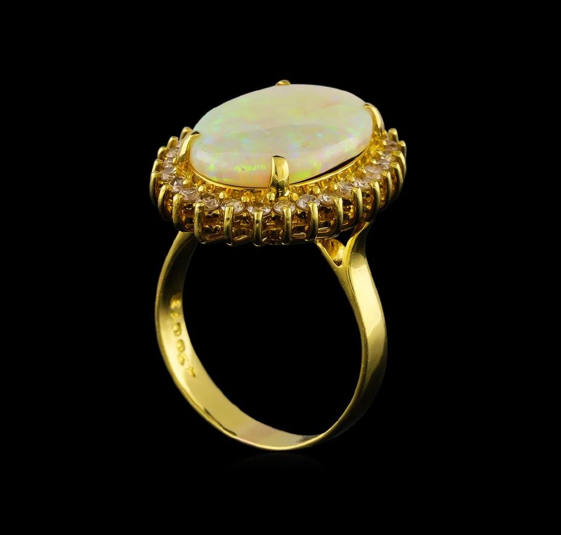 3.87 ctw Opal and Diamond Ring - 18KT Yellow Gold - 4
