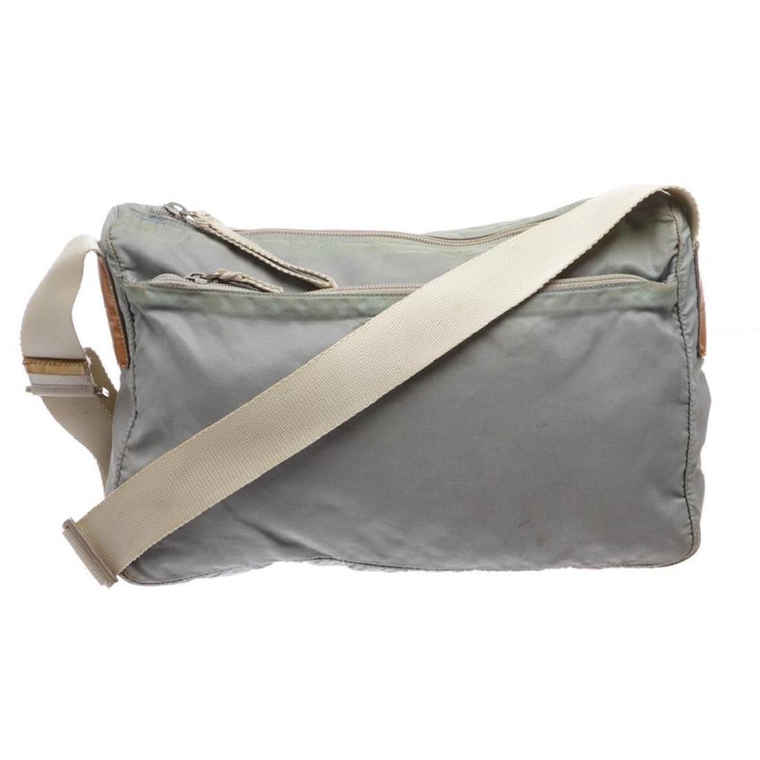 Prada Gray Nylon Zip Top Messenger Handbag