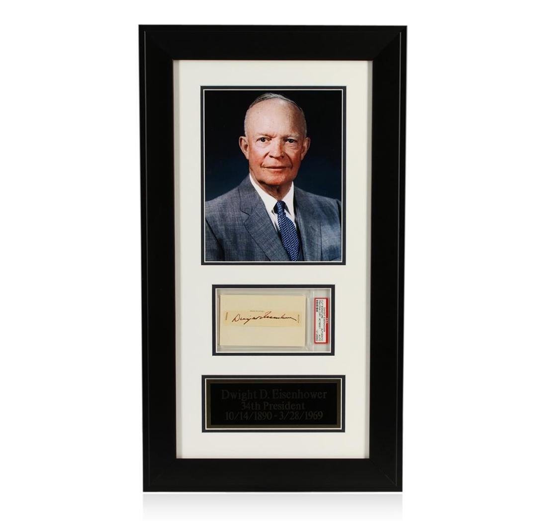 Dwight D. Eisenhower Signed Cut Display PSA Certified