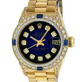Rolex 18KT Gold President Diamond and Sapphire Ladies