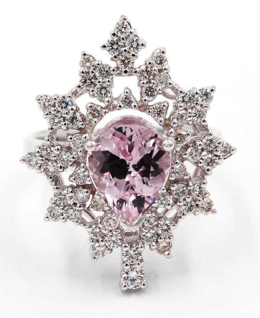 2.87 Carat Pear Cut Morganite Diamond Wedding