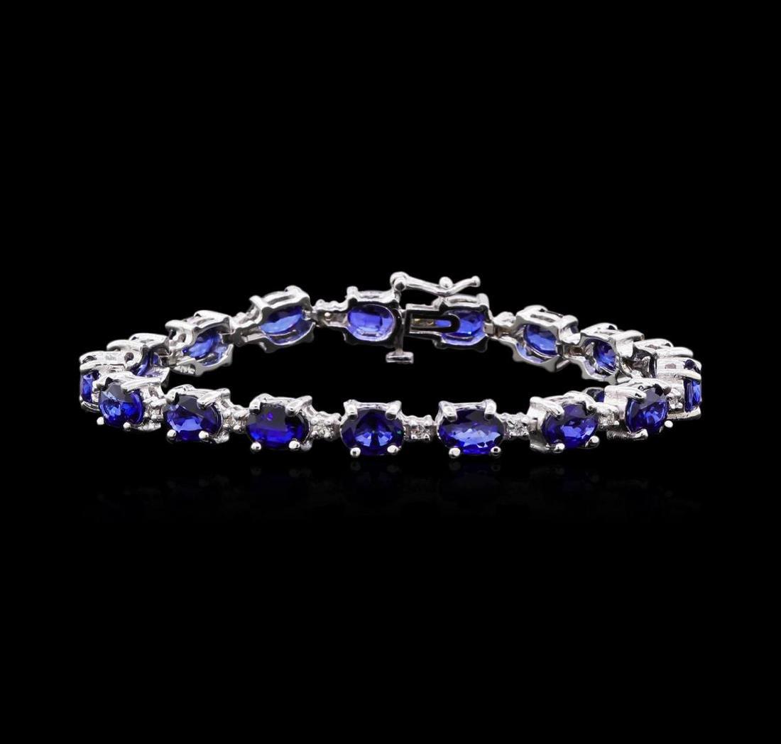 15.86 ctw Sapphire and Diamond Bracelet - 14KT White