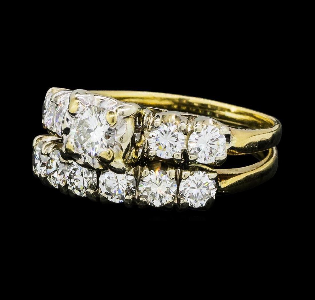 1.40 ctw Diamond Ring & Wedding Band - 14KT Yellow And