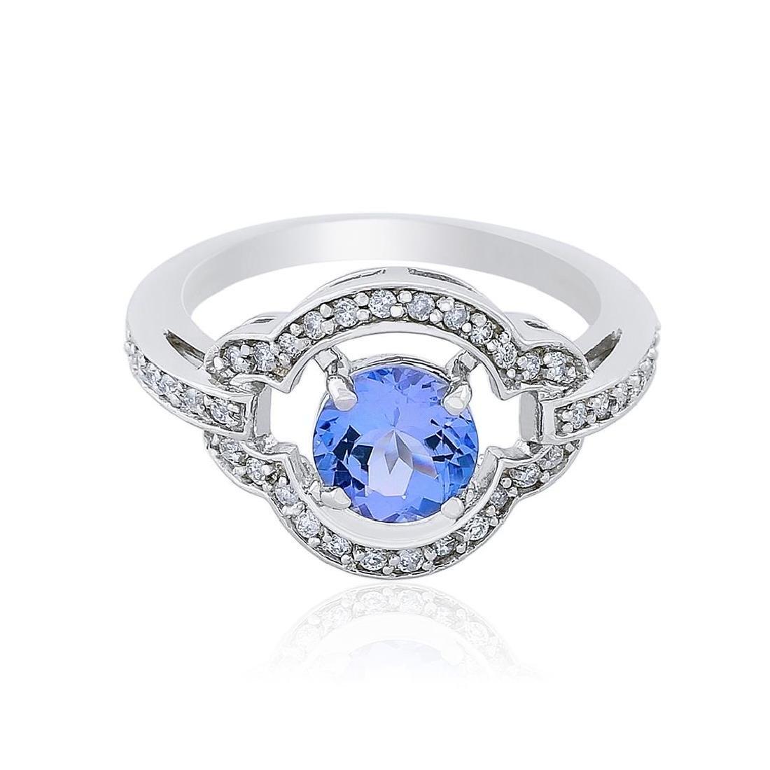 14KT White Gold 1.29 ctw Tanzanite and Diamond Ring