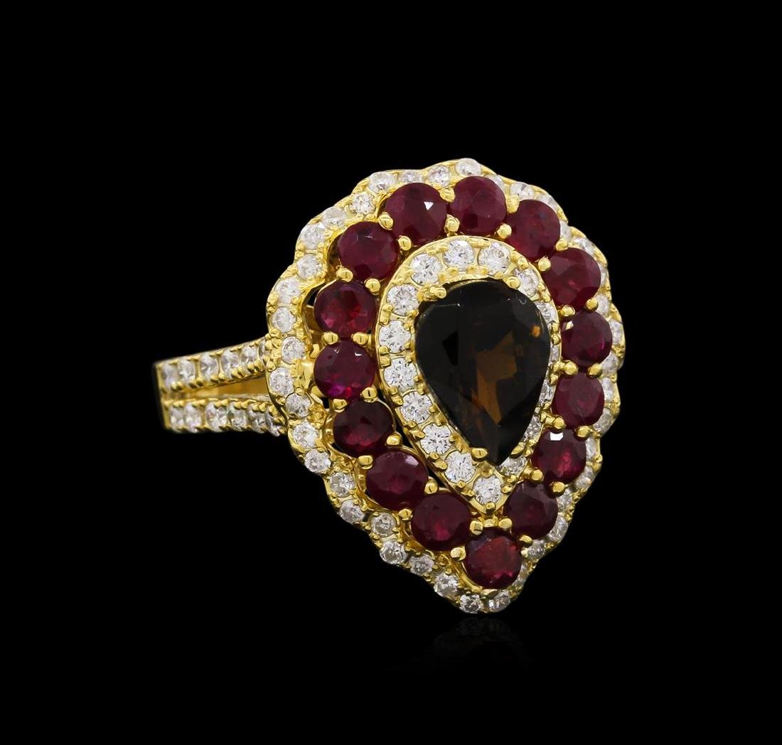 1.00 ctw Green Tourmaline, Ruby and Diamond Ring - 14KT