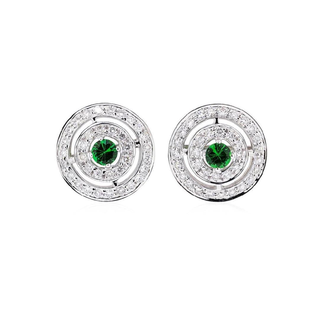 0.66 ctw Tsavorite And Diamond Earrings - 14KT White