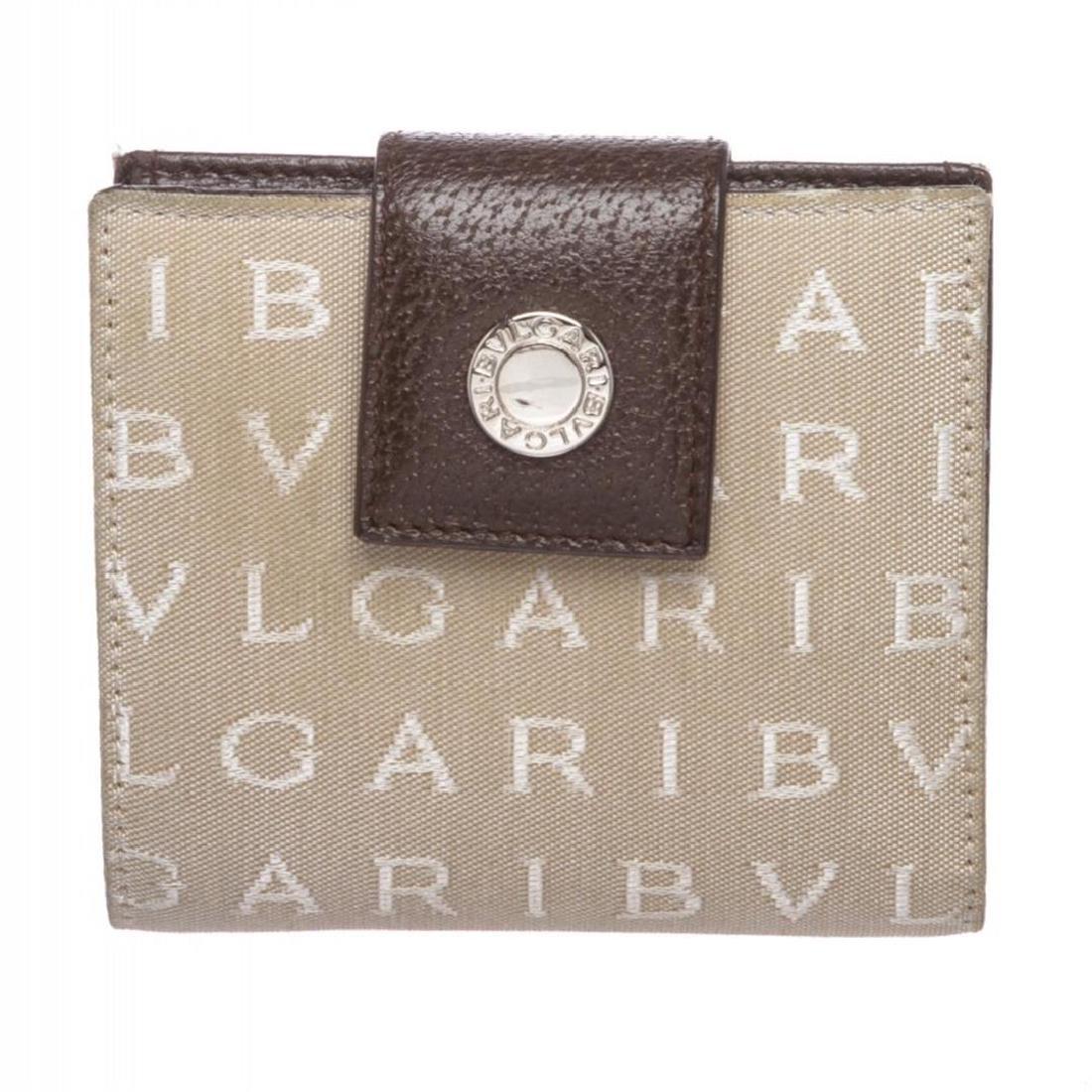Bvlgari Beige Monogram Fabric Bi Fold Small Wallet