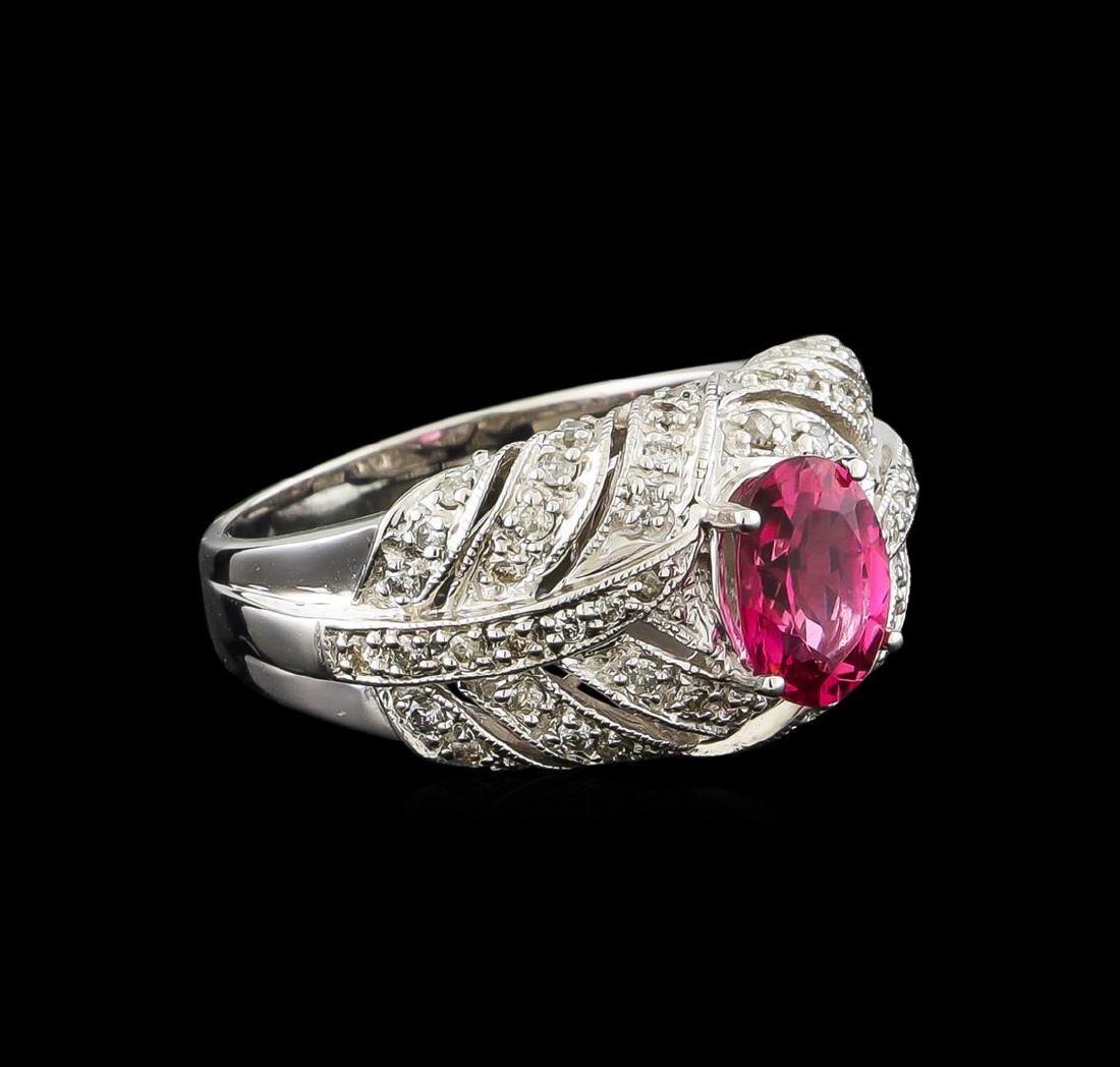 1.34 ctw Pink Tourmaline and Diamond Ring - 10KT White