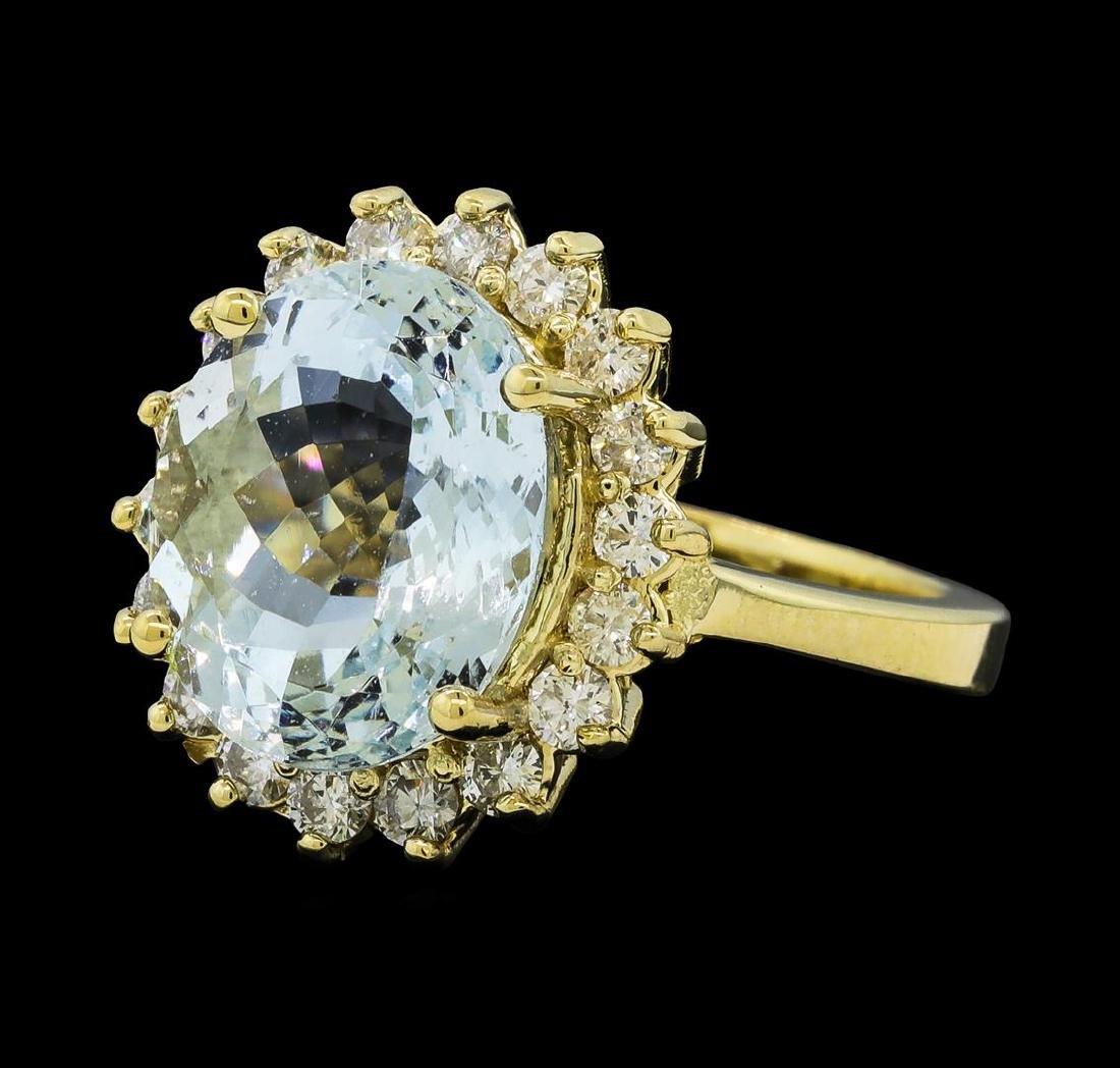 4.73 ctw Aquamarine and Diamond Ring - 14KT Yellow Gold