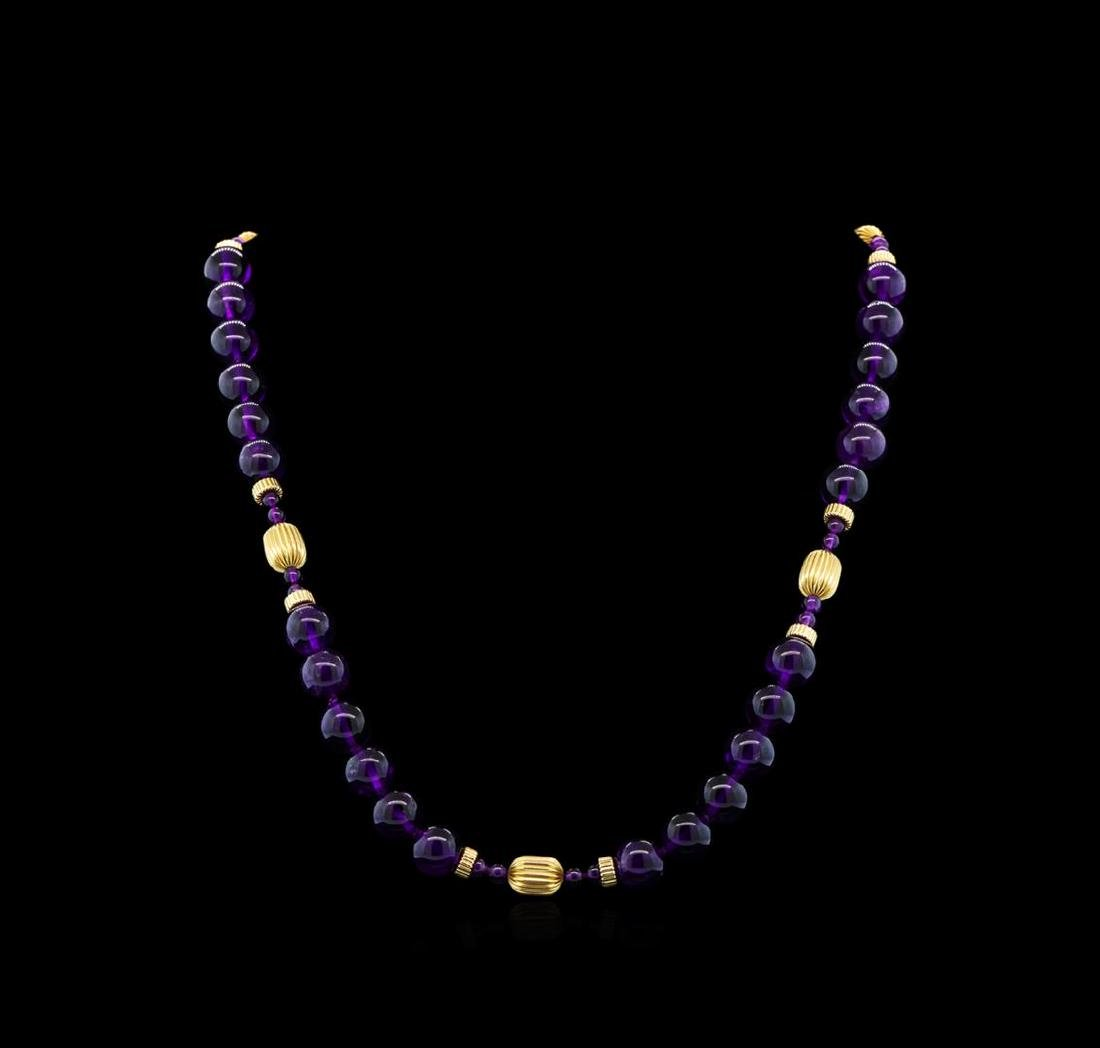 Amethyst Necklace - 14KT Yellow Gold