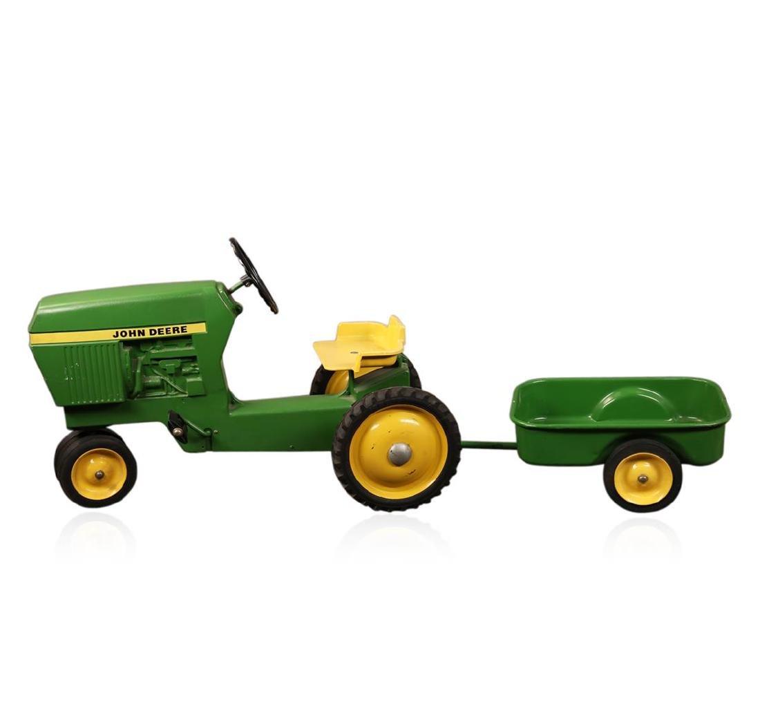 Vintage John Deere Tractor Trailer Ride On Toy