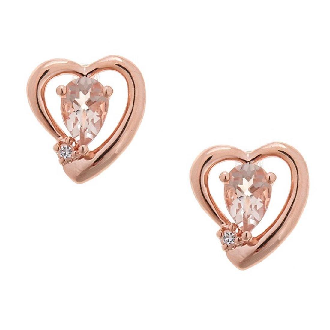 0.68 ctw Morganite and Diamond Earrings - 14KT Rose
