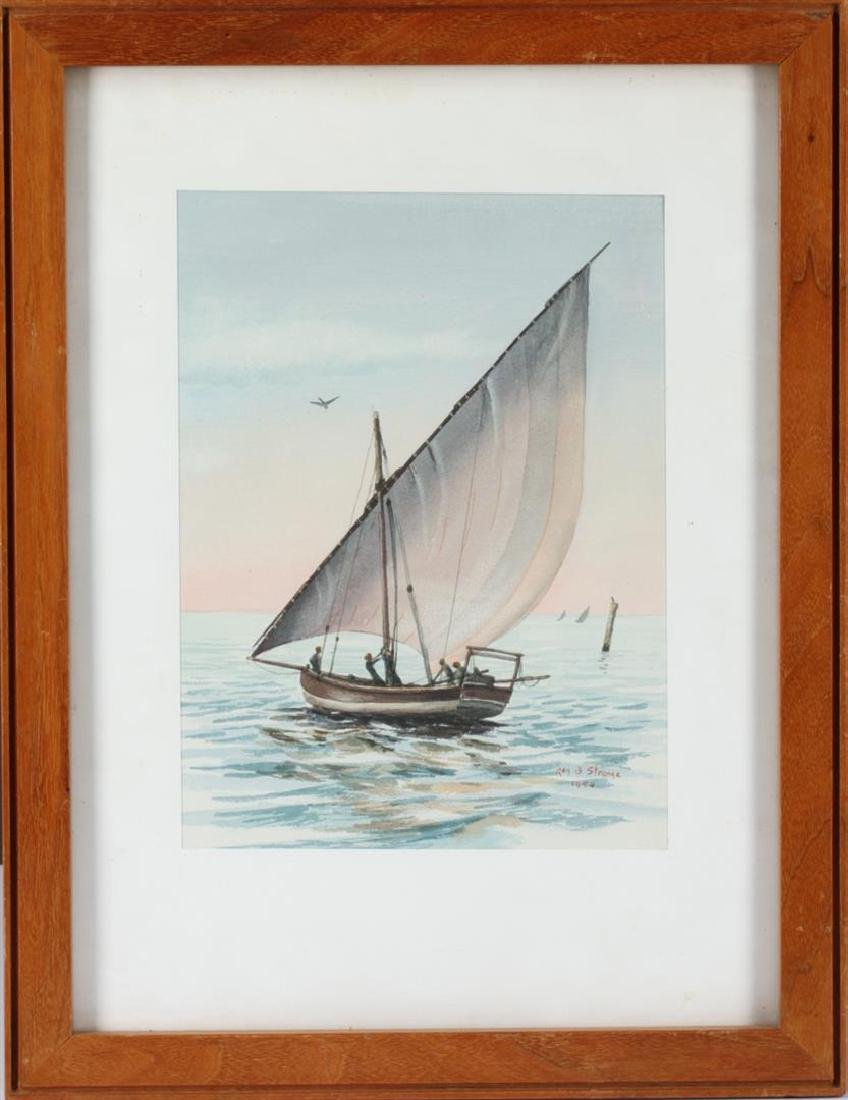 Under Way by Reg B. Original Watercolor Circa 1954