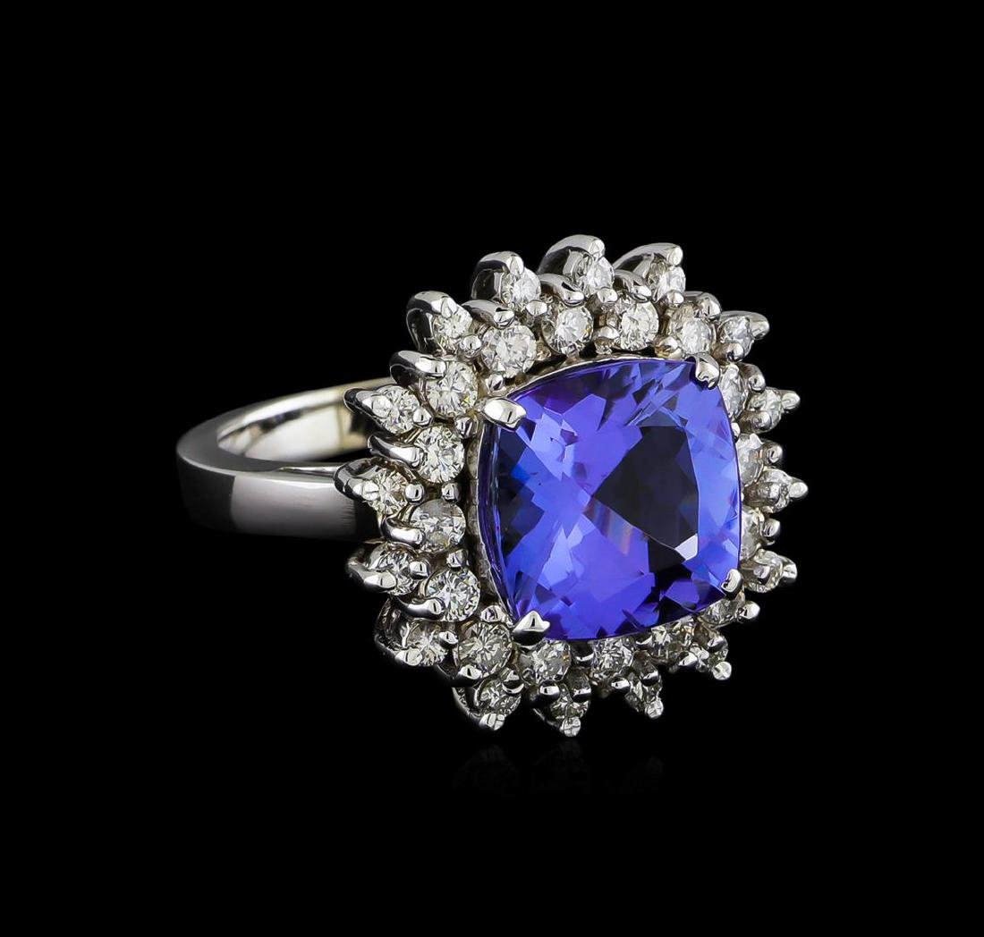 5.63 ctw Tanzanite and Diamond Ring - 14KT White Gold