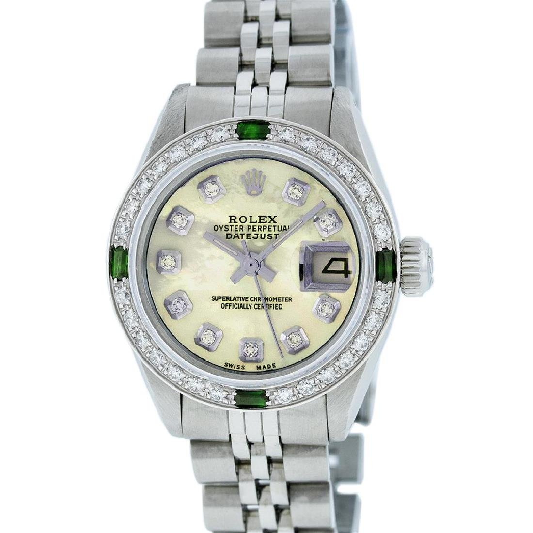 Rolex Stainless Steel Yellow MOP Diamond and Emerald