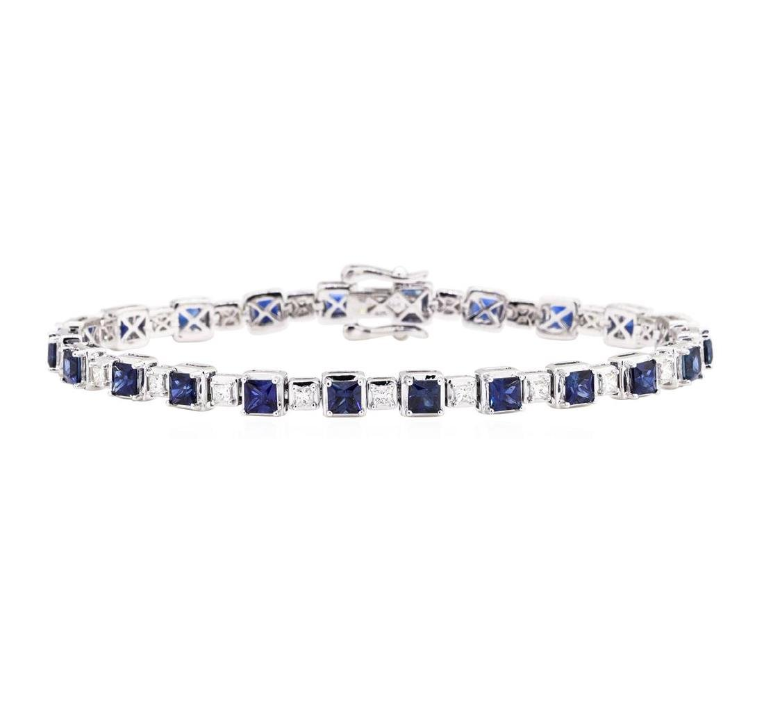 8.12 ctw Sapphire And Diamond Bracelet - 14KT White