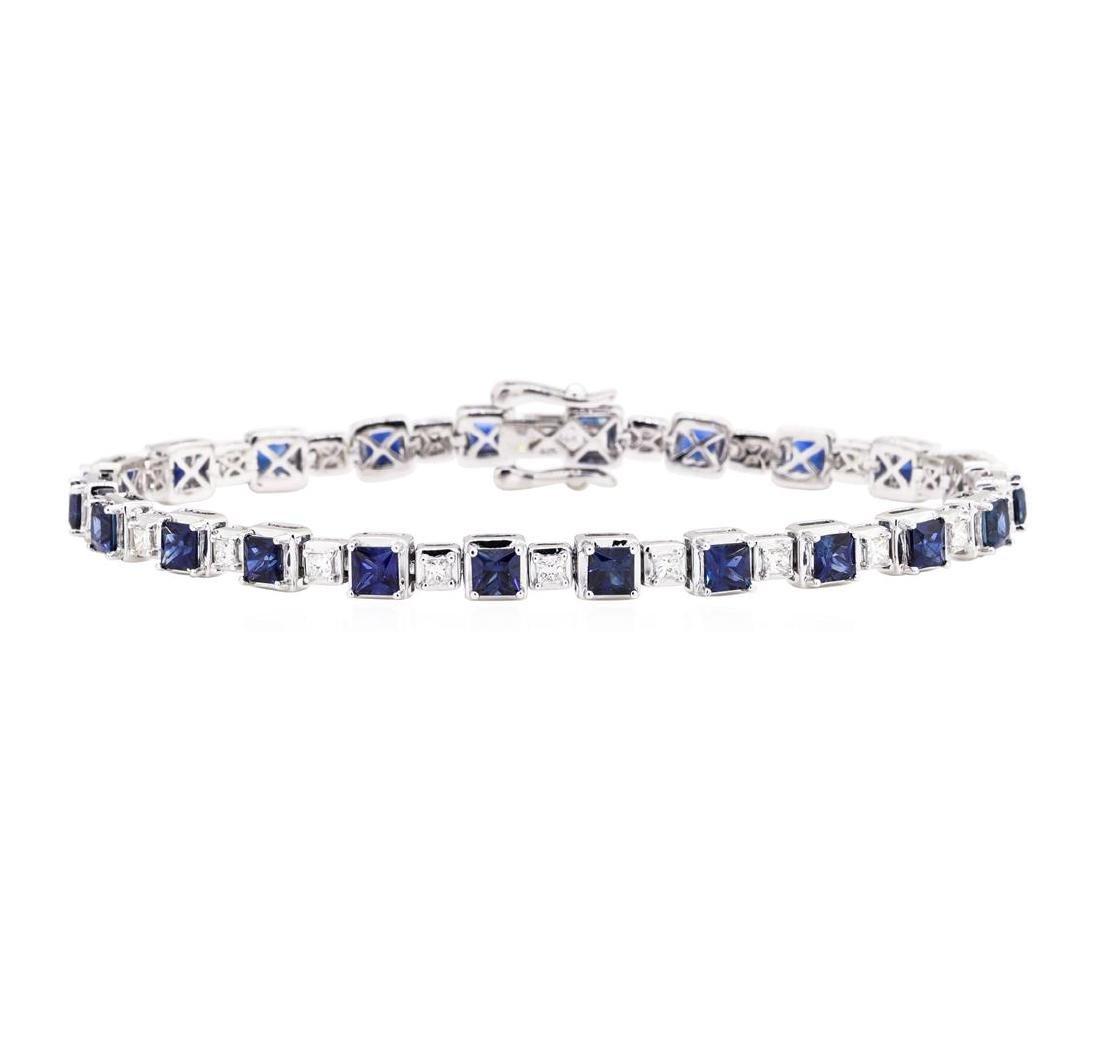 8.12 ctw Sapphire And Diamond Bracelet - 14KT White