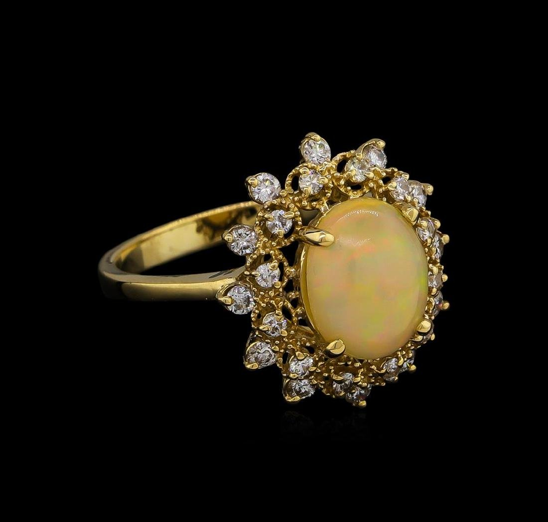 1.76 ctw Opal and Diamond Ring - 14KT Yellow Gold