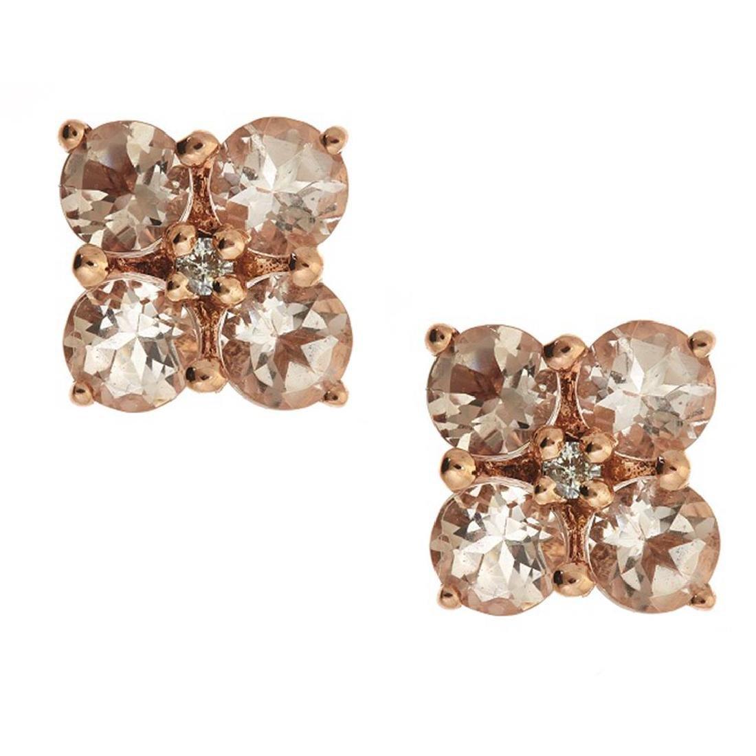 1.45 ctw Morganite and Diamond Earrings - 14KT Rose