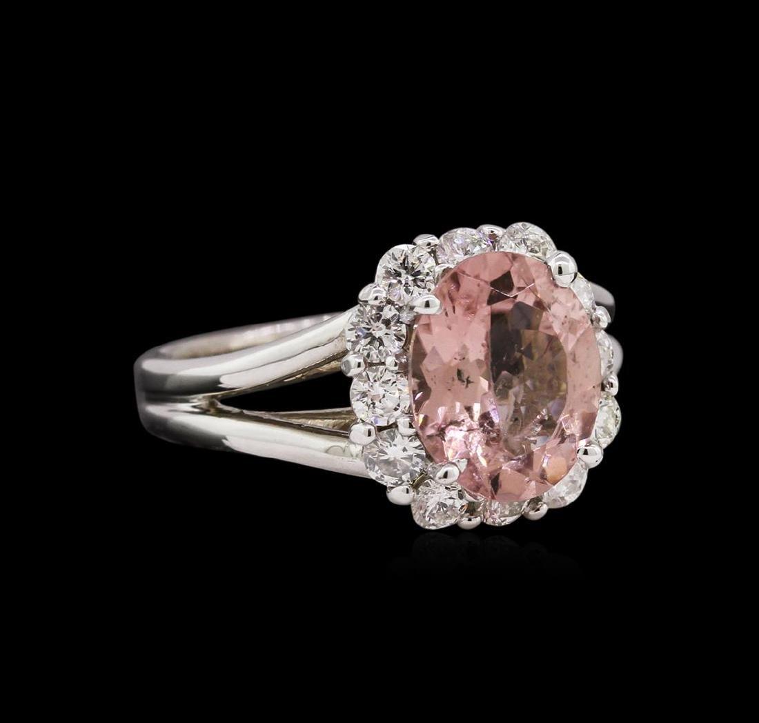 2.48 ctw Pink Tourmaline and Diamond Ring - 14KT White