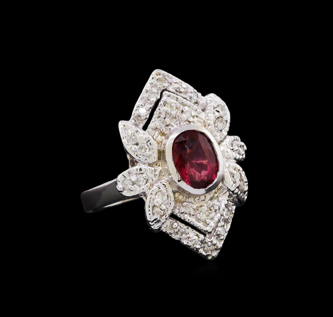 1.54 ctw Pink Tourmaline and Diamond Ring - 14KT White
