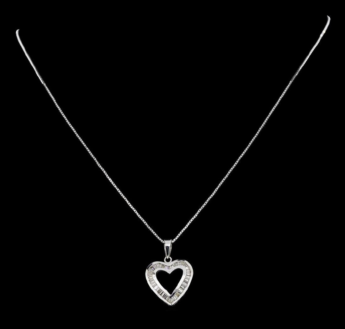 0.50 ctw Diamond Heart Pendant with Chain - 14KT White