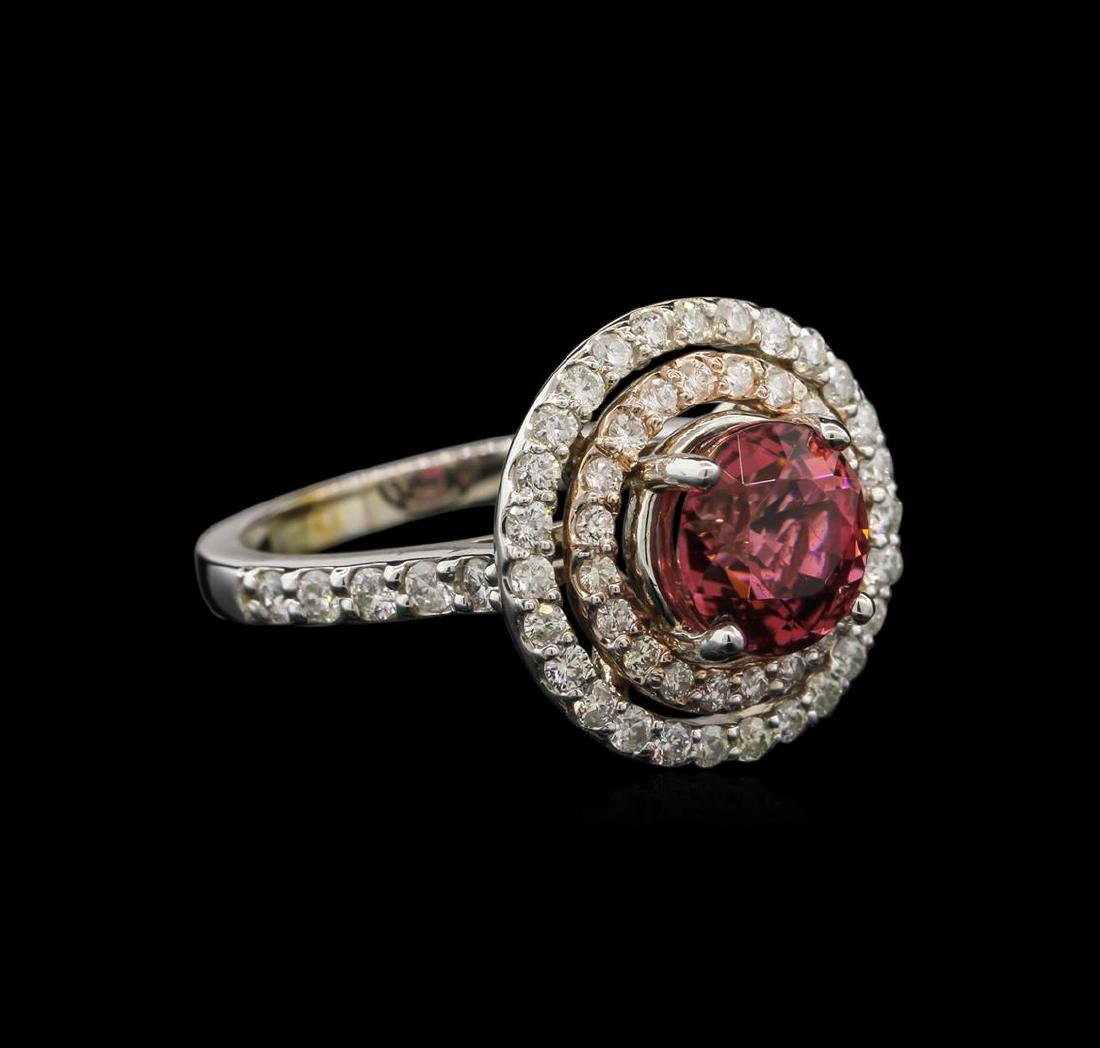 2.30 ctw Pink Tourmaline and Diamond Ring - 14KT White