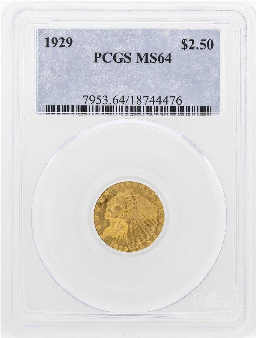 1929 $2 1/2 Indian Head Quarter Eagle Gold Coin PCGS