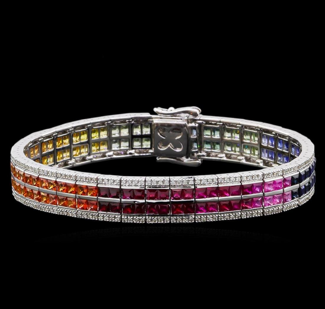 14.45 ctw Multi Color Sapphire and Diamond Bracelet -