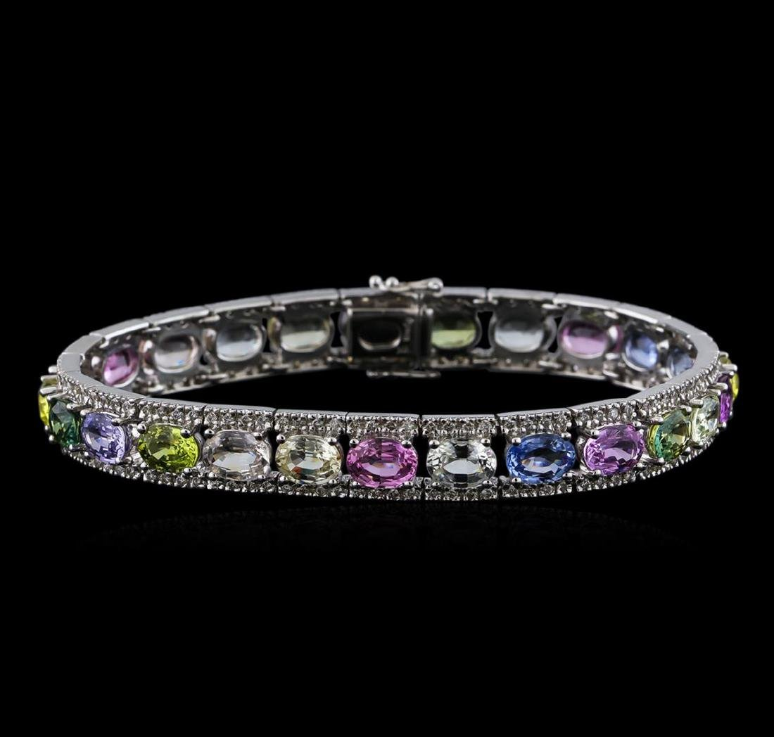28.38 ctw Multi Color Sapphire and Diamond Bracelet -