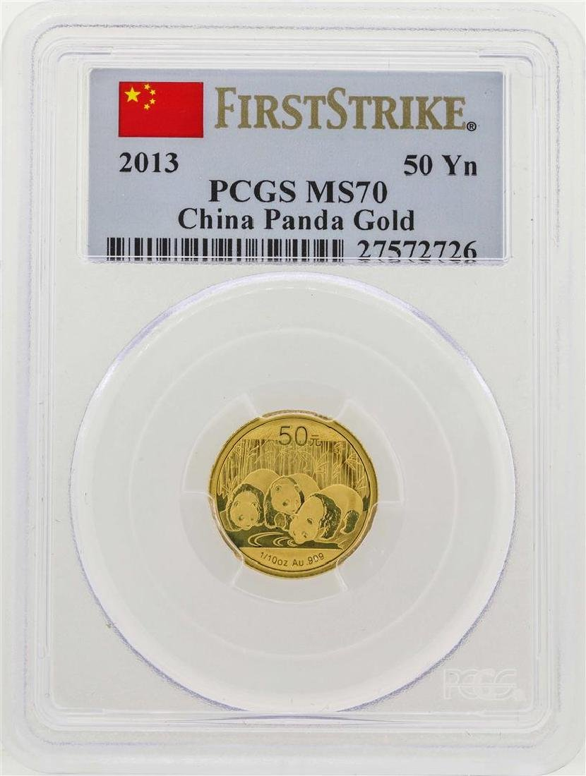 2013 China 1/10 oz. Panda Gold Coin PCGS MS70 First