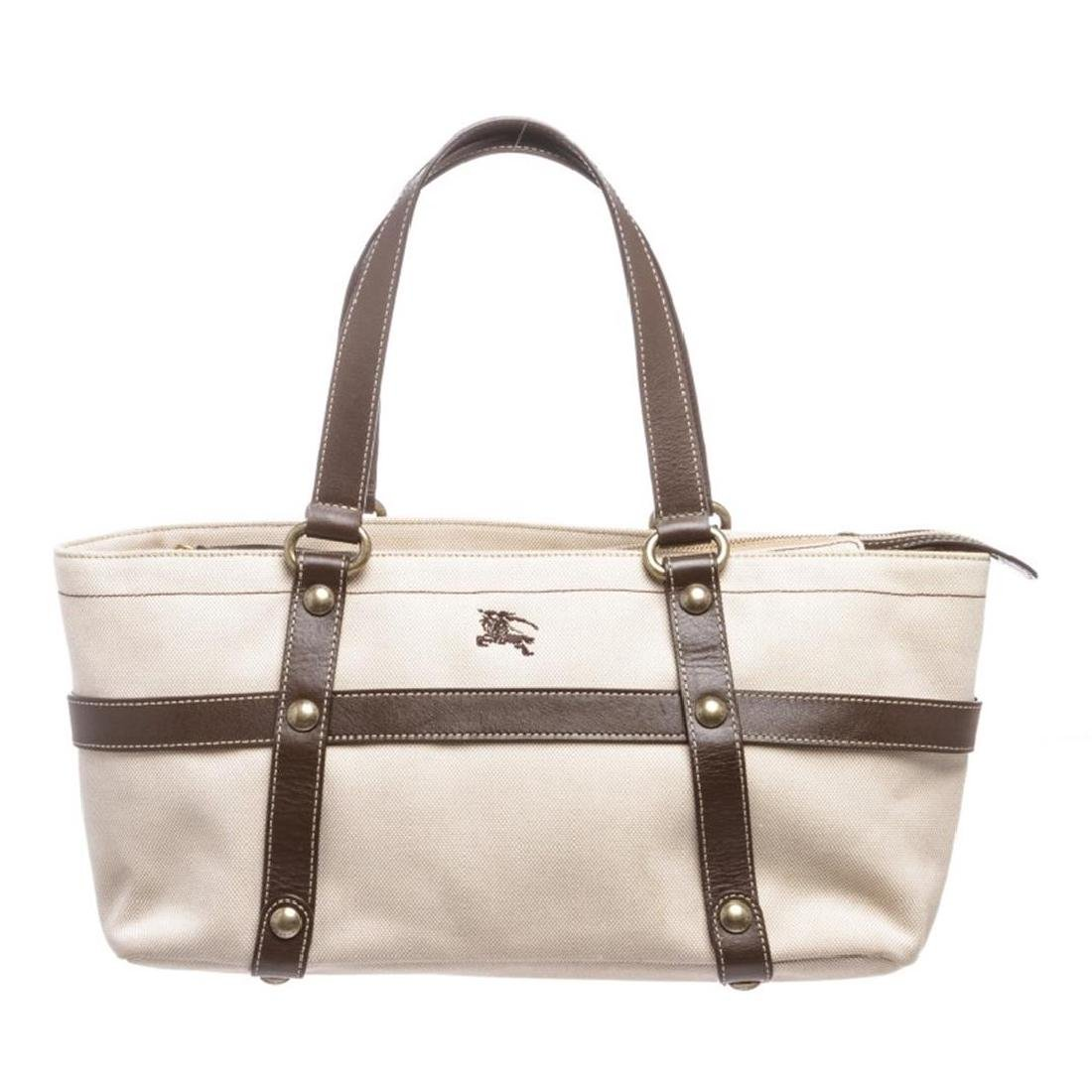 Burberry Beige Brown Canvas Leather Shoulder Bag