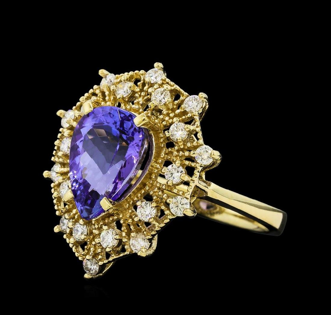 3.20 ctw Tanzanite and Diamond Ring - 14KT Yellow Gold