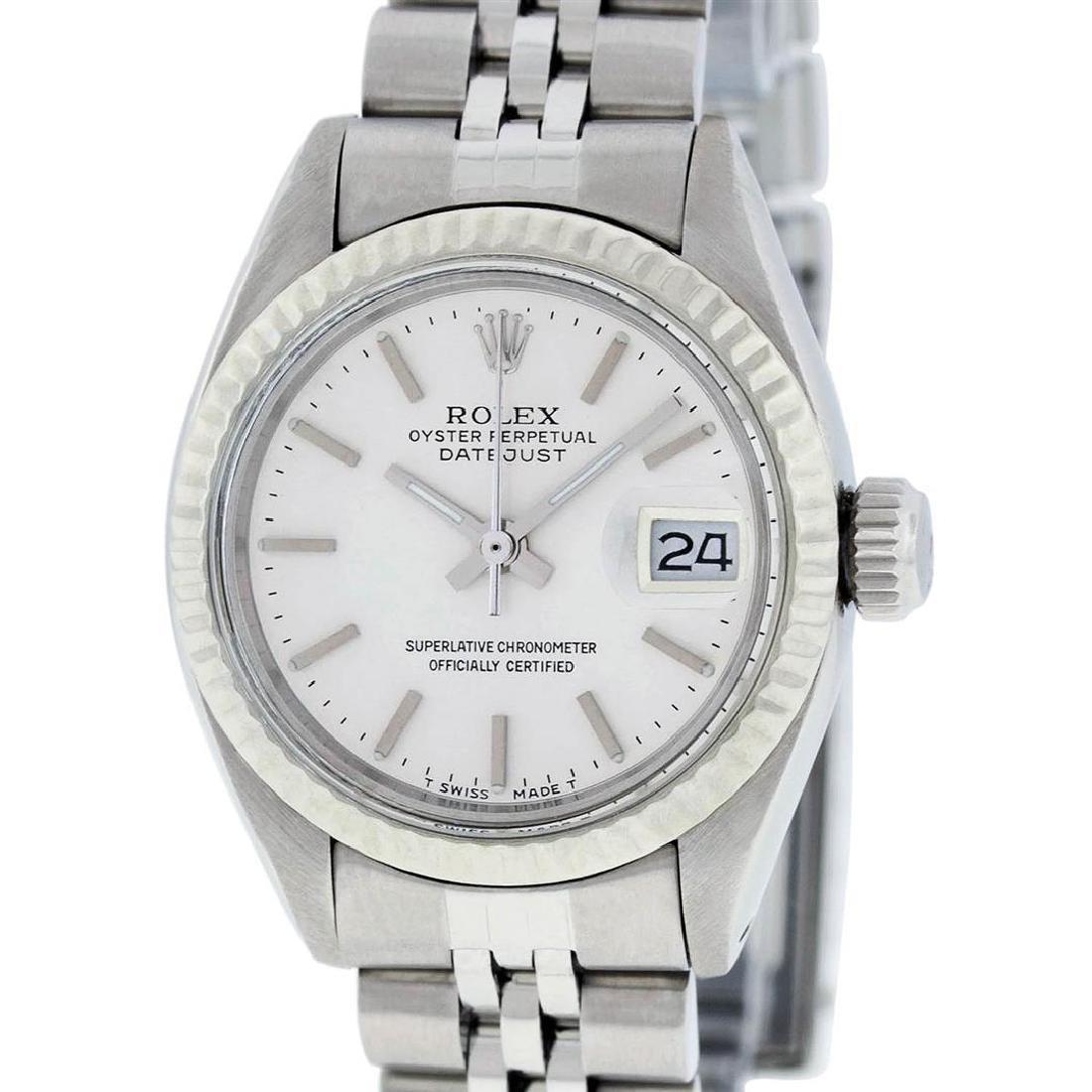 Rolex Ladies Quickset SS Silver Index Fluted Bezel