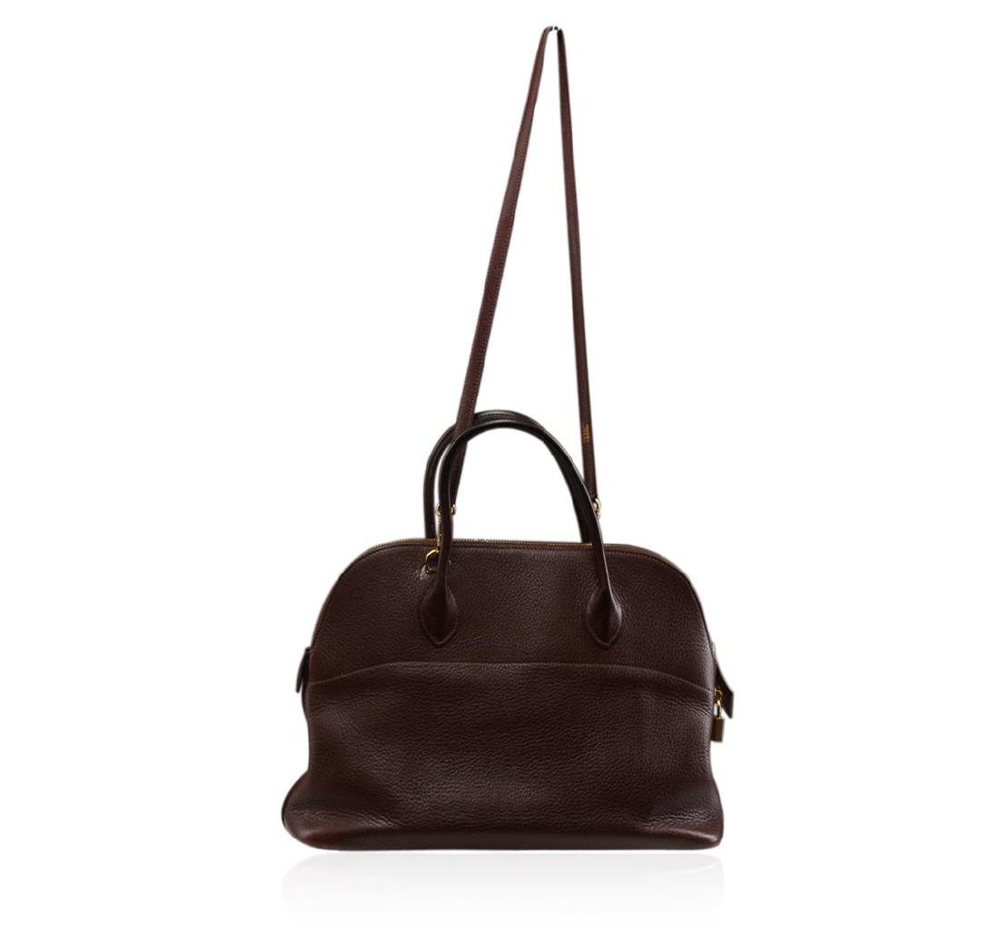 Hermes Brown Leather Purse With Shoulder Sling