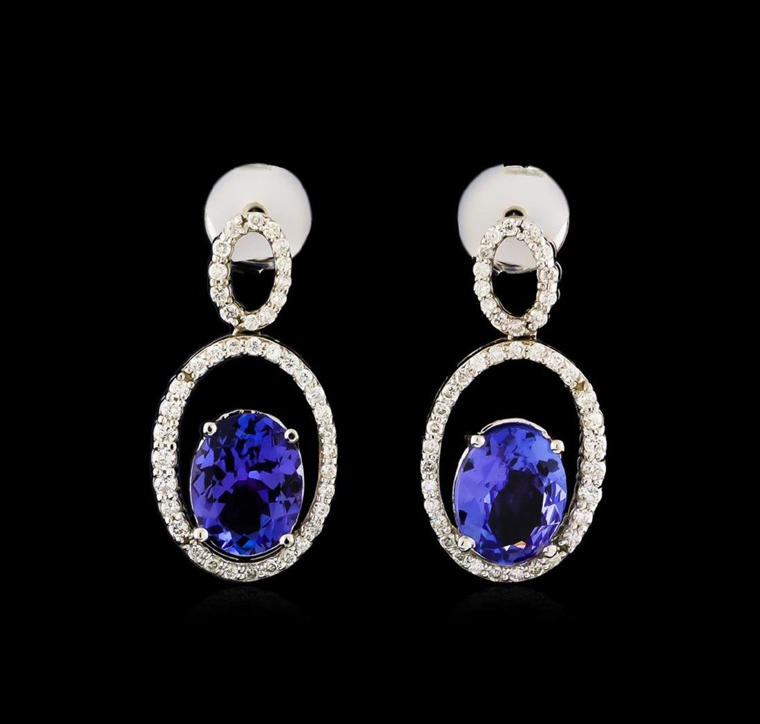 3.58 ctw Tanzanite and Diamond Earrings - 14KT White