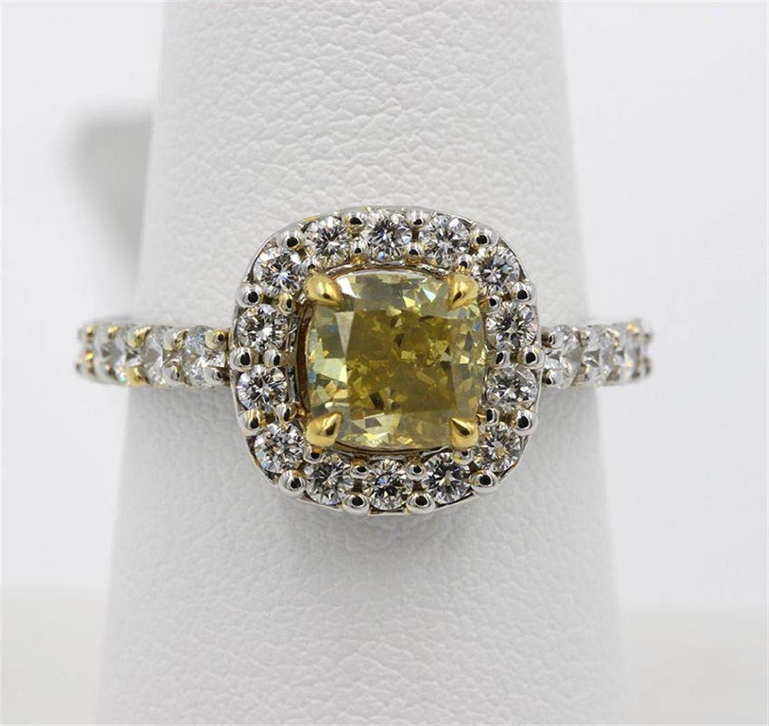 1.63 ctw Yellow and White Diamond Ring - 14KT White and