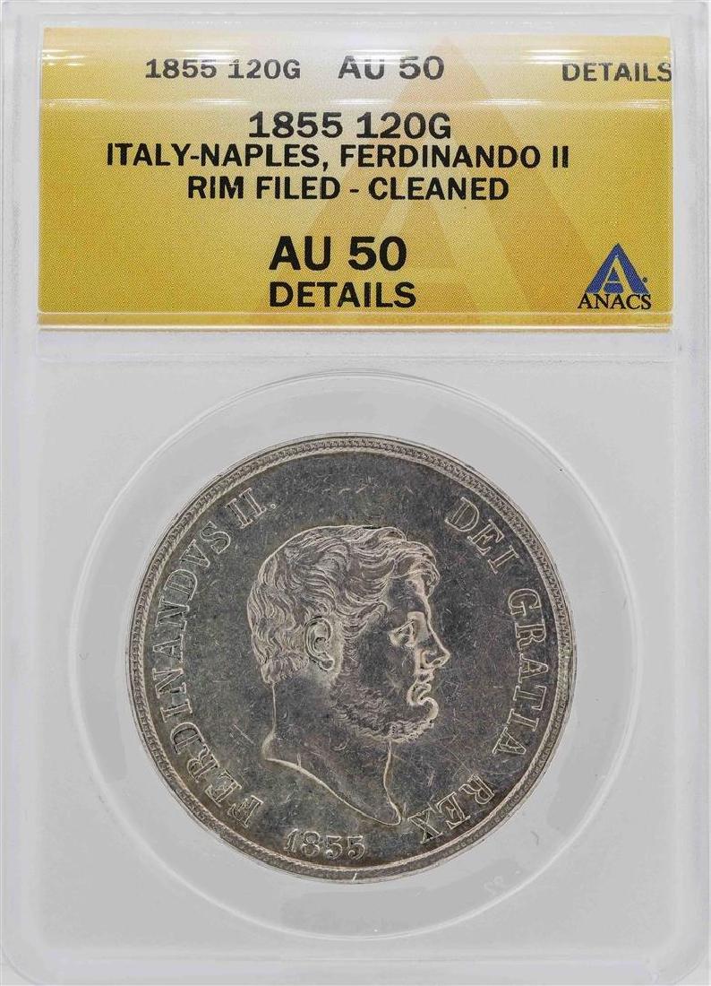 1855 Italy-Naples Ferdinando II 120 Grana Coin ANACS